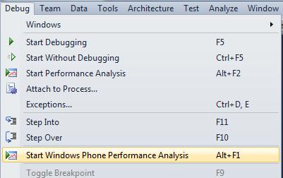 Start Windows Phone Performance Analysis