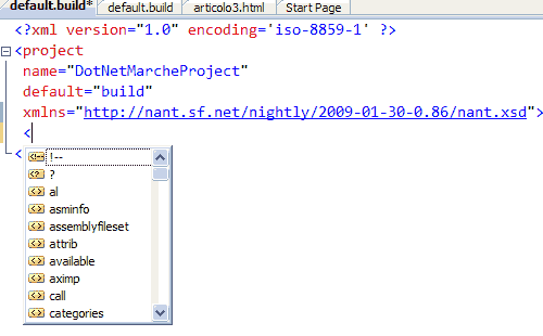 Scrivere un file build  con Intellisense