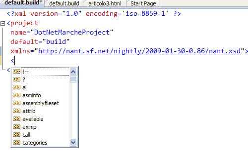 Scrivere un file build  con Intellisense
