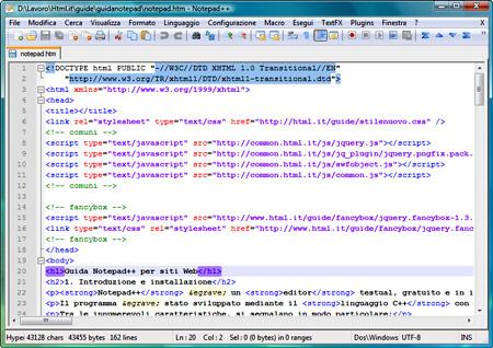 L'interfaccia di Notepad++