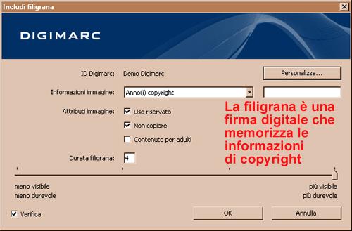 finestra di dialogo Digimarc