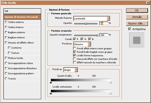 menu Opzioni di fusioni e Stili livello