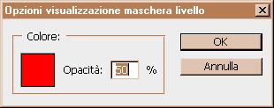 menu Opzioni visualizzazioni maschera di livello