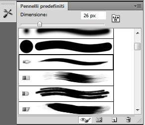Riquadro dei pennelli predefiniti