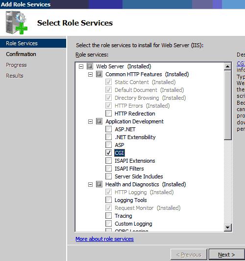 Abilitazione CGI e FastCGI su Windows Server 2008