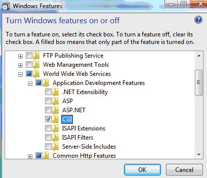Abilitazione di CGI e FastCGI su Windows Vista SP1 / Windows 7