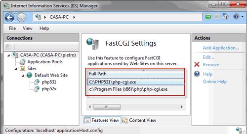 Lista delle applicazioni FastCGI