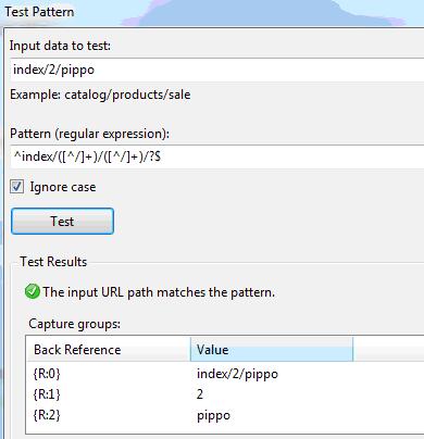 Test degli URL sulle regole definite