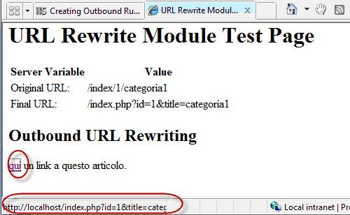 Pagina HTML in cui si vede l'url interno