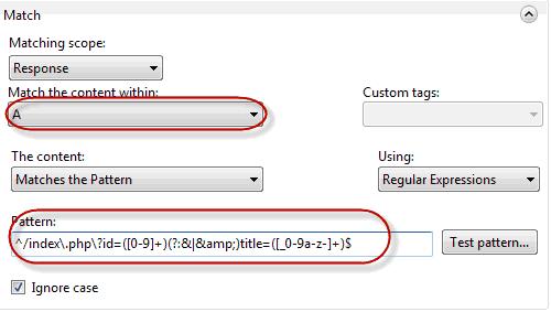 Pattern per intercettare quanto presente nel tag <a>