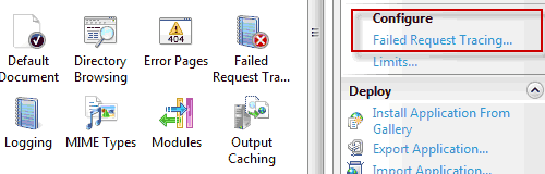 Configurazione del Failed Request Tracing