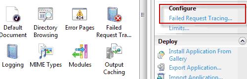Configurazione del Failed Request Tracing