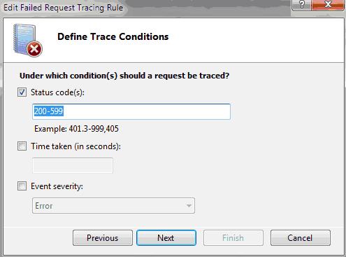 Scelta del codice http da tracciare