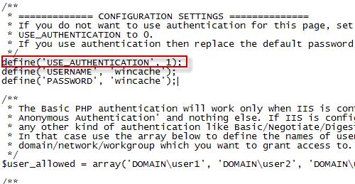Configurazione della sicurezza del file wincache.php