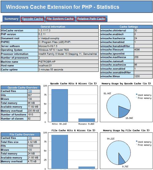 Pagina delle statistiche per la Windows Cache