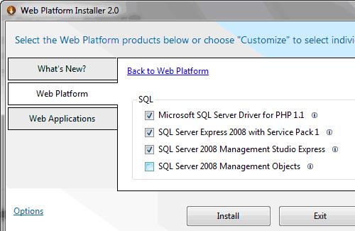 Scelta delle opzioni per installare SQL Server 2008 Express