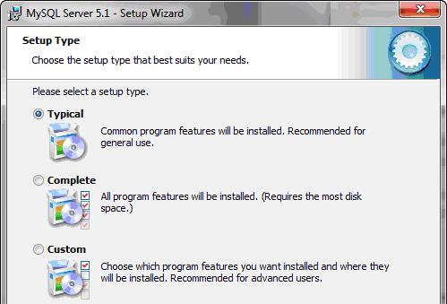 Scelta del tipo d'installazione per MySQL