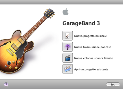 Interfaccia di GarageBand all'apertura del programma