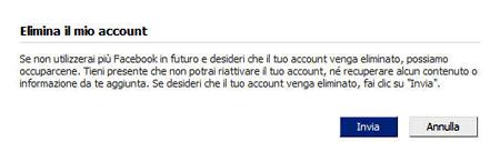 La cancellazione da Facebook