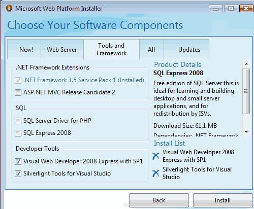 Configurazione dell'ambiente di sviluppo con Web Platform Installer