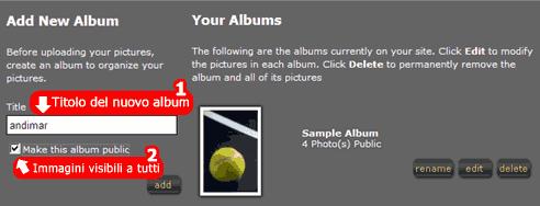 Aggiungere un album