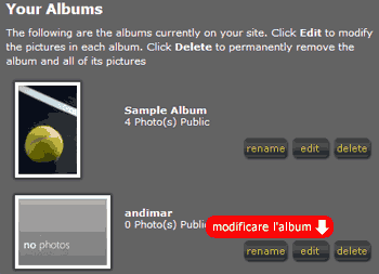 Modificare l'album