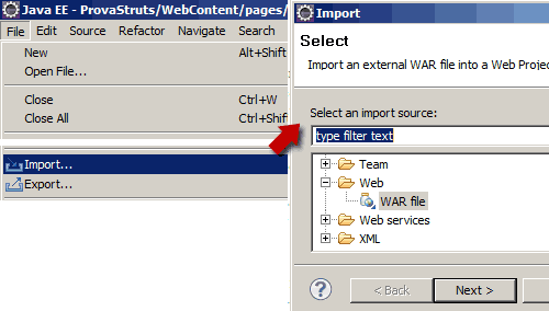 Importare il file .war in Eclipse