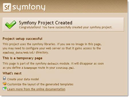Pagina di creazione del progetto Symfony