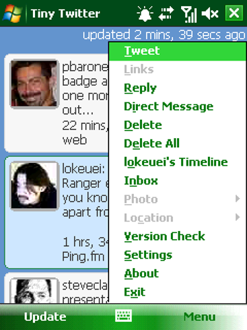 Tiny Twitter su Windows Mobile