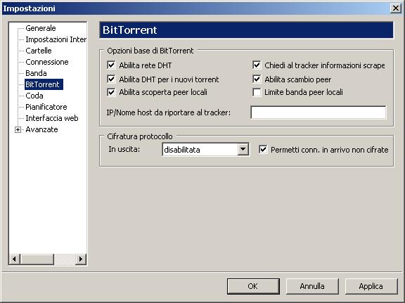 Impostazioni BitTorrent