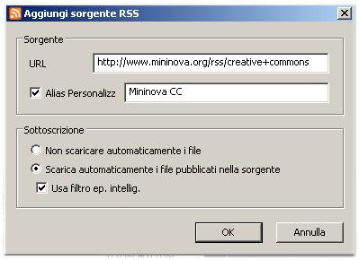 Aggiungi sorgente Feed RSS