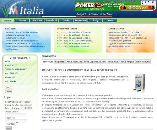 La home page di VM Italia