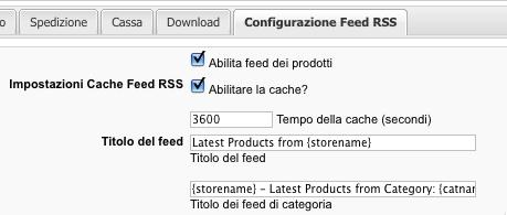 La configurazione del feed
