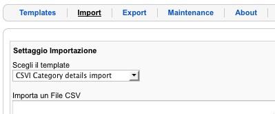 Settaggio importazione