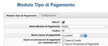 Attiviamo PayPal come tipo di pagamento