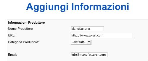 Le informazioni del Manufacturer