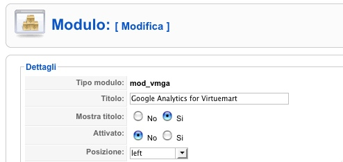 Il modulo Google Analytics for Virtuemart