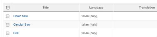 Gli elementi in lingua italiana