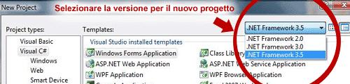 Selezionare la versione del .NET Framework nel wizard di creazione progetto