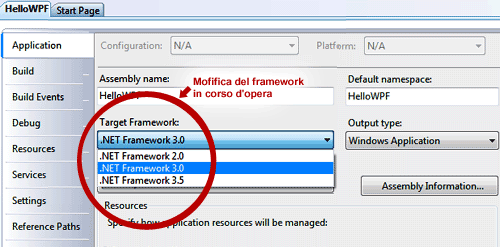 Modifica del framework a progetto avviato