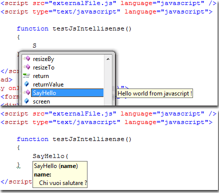 Intellisense supporta le librerie JavaScript esterne