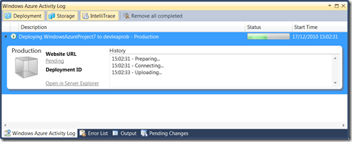 Windows Azure Activity Log