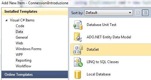 Aggiungere un dataset al progetto