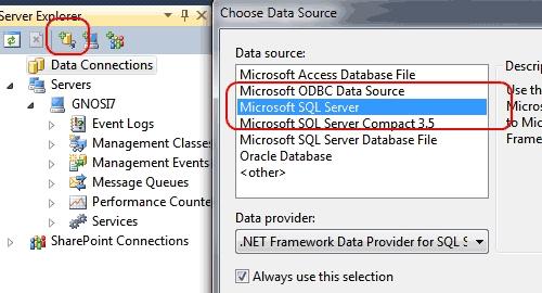 Connettere un database in Visual Studio