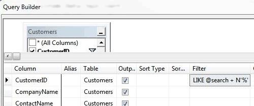 Creare una query nel query designer