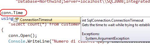 Il suggerimento mostra i metodi/proprietà che contengono il testo digitato