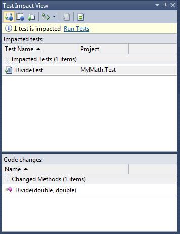 Visualizzazione dei test impattati dopo una modifica
