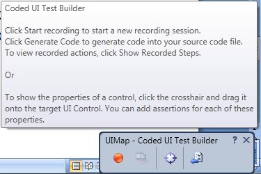 Il test recorder per un nuovo Coded UI Test