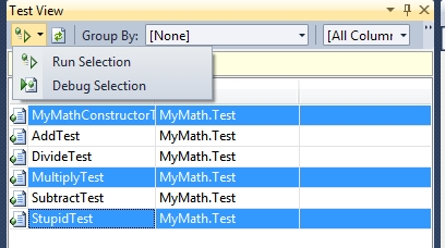 Eseguire un insieme di test
