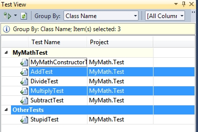Selezione di test singoli nella visione raggruppata